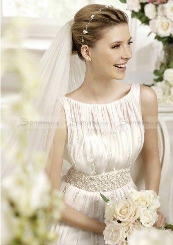 A-line Bateau Neck Pleated Bodice Beaded Waistline Wedding Dresses