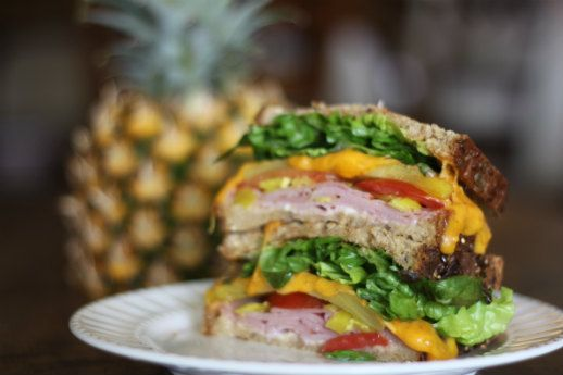 Lettuce Sharp cheddar cheese Grilled pineapple Tomato Ham Pepperoncini ...
