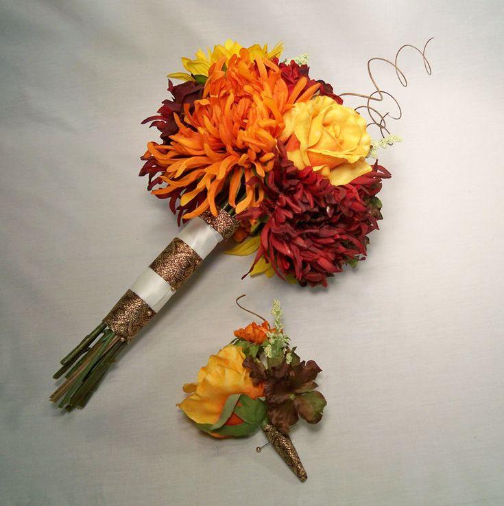 Fall Flower Mums: Fall Orange, Red Mum, Yellow Rose Brides Wedding Bouquet