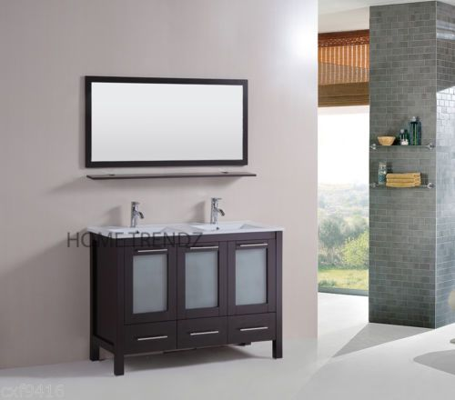 48 Double Vanity Bathroom Ceramic Sink Cabinet Combo Set