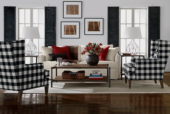Black buffalo check wingback chairs | Black and White | Pinterest