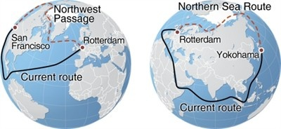 Northern Sea Route and the Northwest Passage compared with currently used shipping routes