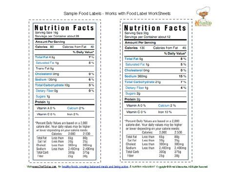 Sample food labels 3