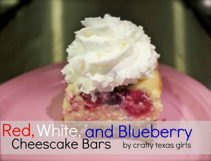 Red, White And Blueberry Cheesecake Bars Recipe — Dishmaps