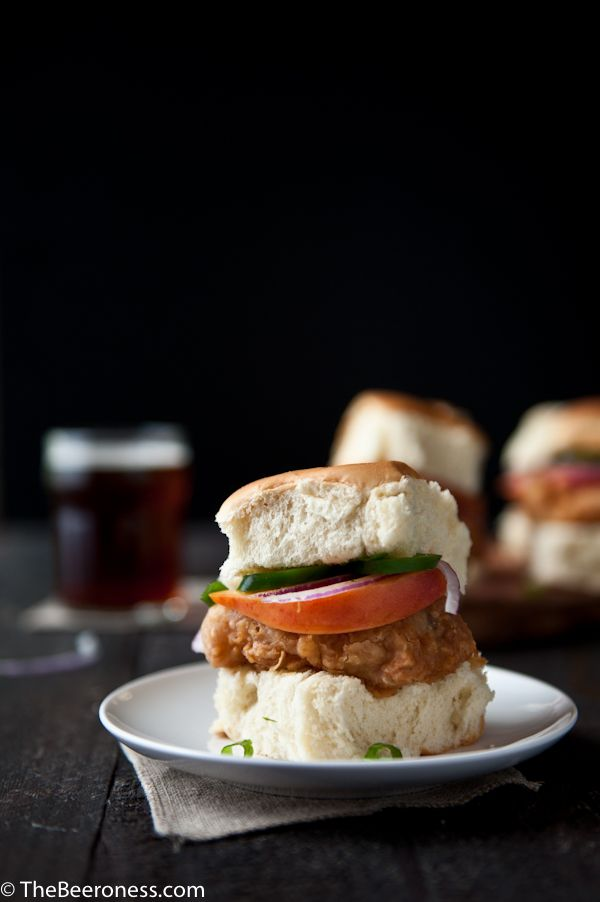Fried Beer Chicken Sliders with Beer Pickled Peaches and Jalapenos ...