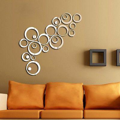 Circle mirror wall decals