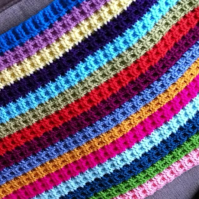 Waffle blanket Crochet Pinterest