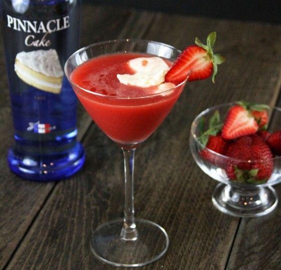 Strawberry Shortcake Martini made with Pinnacle Cake Vodka