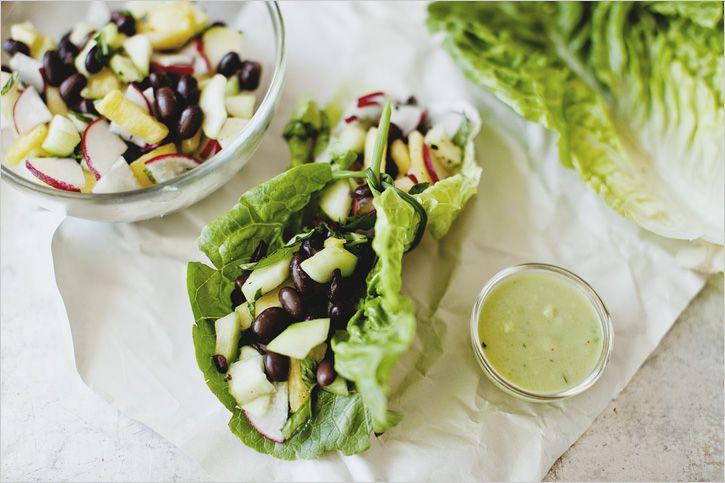 veggie le crunch- radish, pineapple, basil black bean veggie lettuce ...