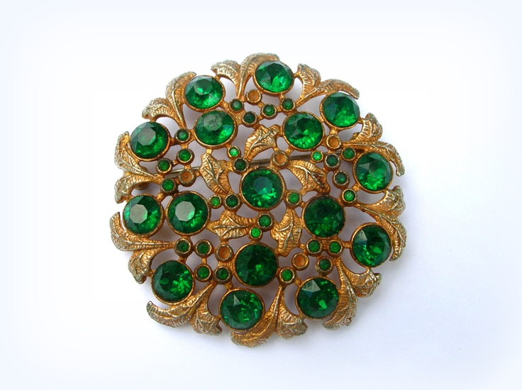 Vintage art deco pot metal brooch green rhinestones for Art sites like etsy