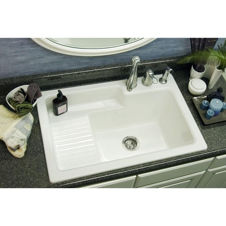 ... Hamilton Self Rimming Laundry Sink $246 White Microban, Three holes