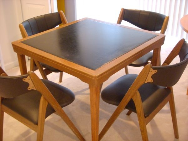 Boston Solid WOOD CARD TABLE and FOUR SIDE CHAIRS $195
