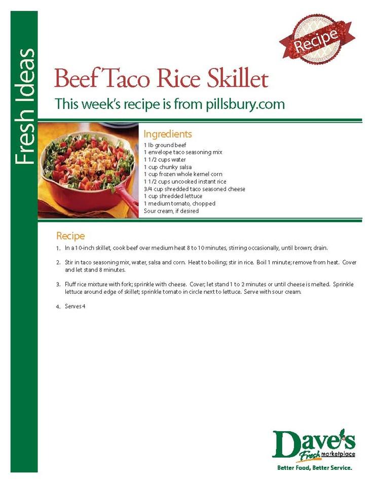 Beef Taco Rice Skillet | Rice | Pinterest