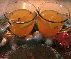 ... wassail.A hot drink,made with a mixing of fruit juices,spiked with rum
