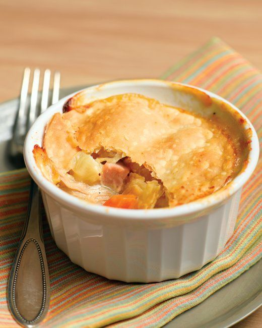 Chicken Potpies with Ham. Clever shortcuts make these individual ...