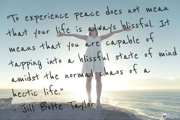 To experience peace does not mean that your life is always blissful. It means that you are perfectly capable of tapping into a blissful state of mind amidst the normal chaos of a hectic life. - Jill Bolte Taylor