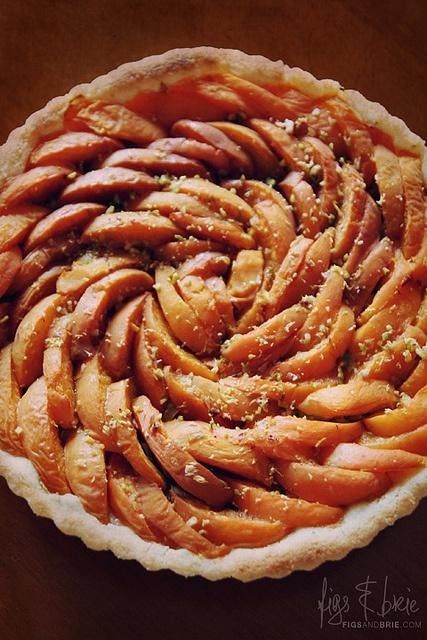 Apricot, pistachio and lemon shortbread tart