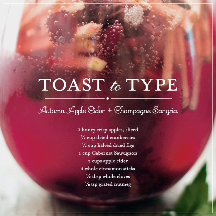... chilly fall evening? Try out autumn apple cider champagne sangria