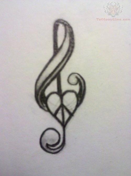Music, peace sign heart, tat. | Tattoos | Pinterest