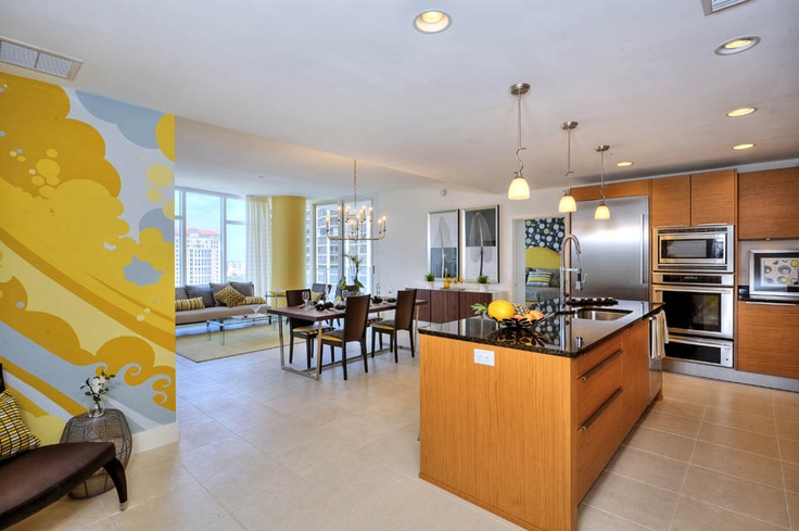 Kitchen & condo designed by Studio M of Tampa...this unit in Signature Place luxury tower along the St. Petersburg downtown waterfront.