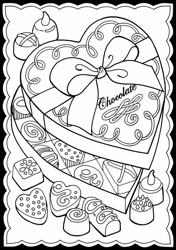 valentine chocolate coloring pages - photo#47