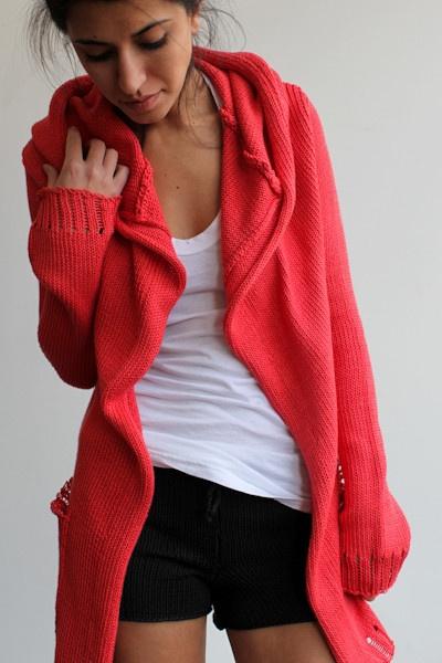 NEW for spring: Souchi, Stewart cotton cardi w/hood!!  Cozy, yummy, soft Italian cotton yarn & hand loomed.