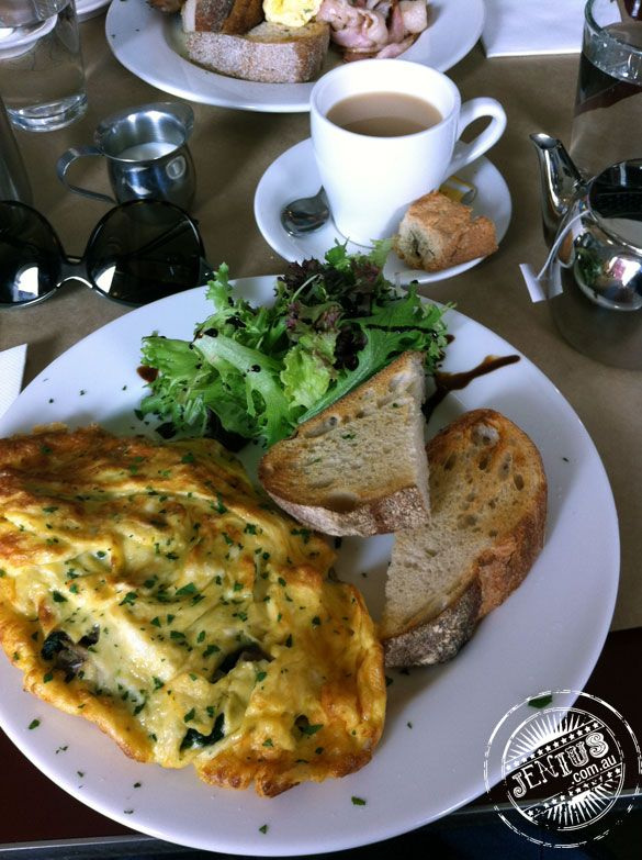 Fab egg, mushroom, spinach and asiago cheese omelette at Pizza e Birra ...