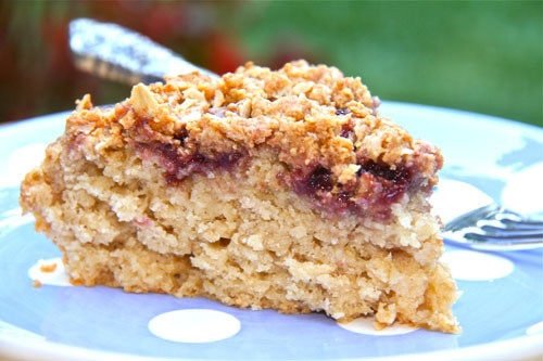 "sweet & crumby"" - Quaker Oats Peanut Butter and Jelly Cake"