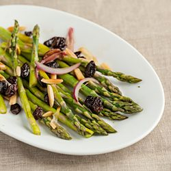 Steamed asparagus with red onions, slivered almonds, and raisins ...