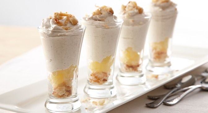 Mousse Minis Dessert - Layered with pineapple, toasted macadamia nuts ...
