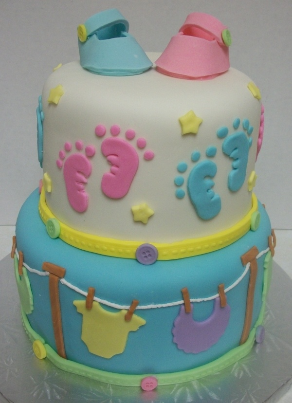 Baby footprints cake baby shower cakes pinterest for Baby footprints cake decoration