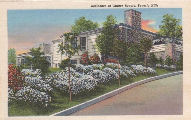 Ginger rogers 39 beverly hills mansion vintage postcards for Movie star homes beverly hills