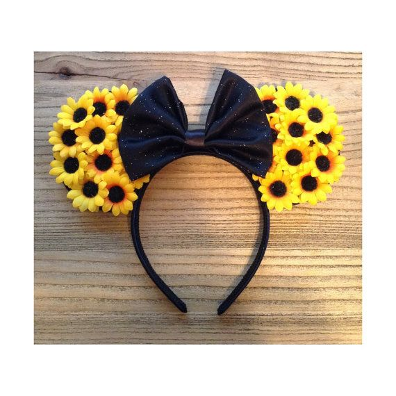 Sunflower Mouse Ears by ShopHouseOfMouse on Etsy, $26.00