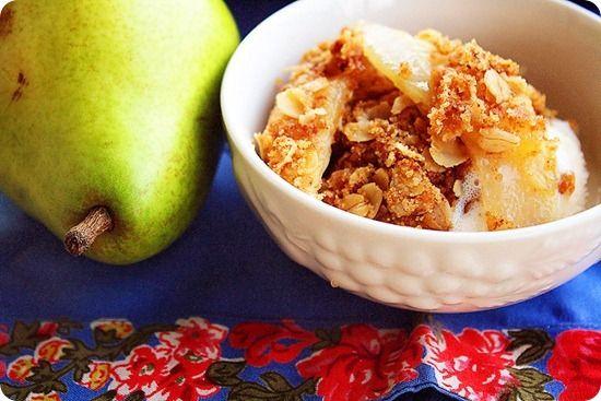Pear Ginger Crisp with Vanilla Ice Cream | Recipe