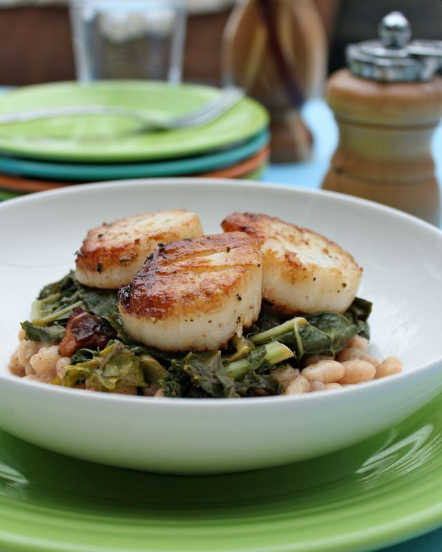 pizza with figs beets and wilted greens seared scallops with succotash ...