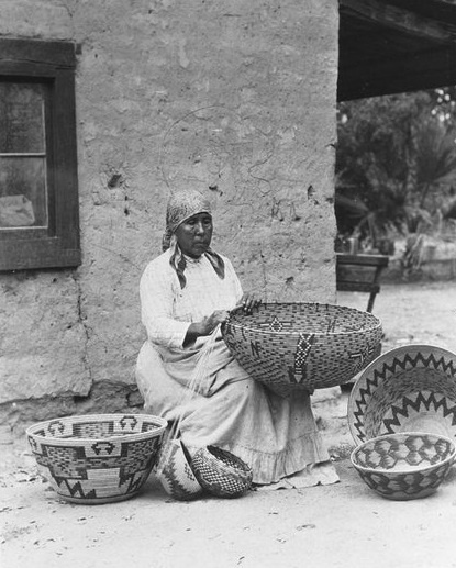 basket weaver, dolores patencio, cahuilla, 1912