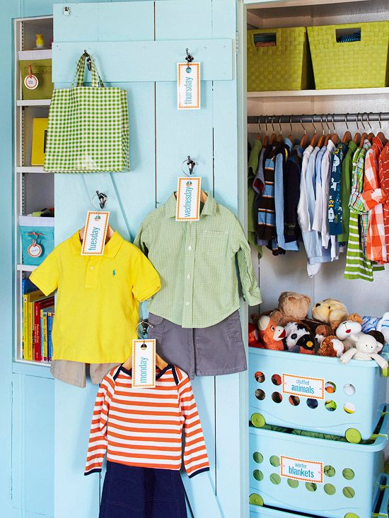 Day of the Week Outfits for Kids - hooks on the closet door to plan outfits for the whole week.