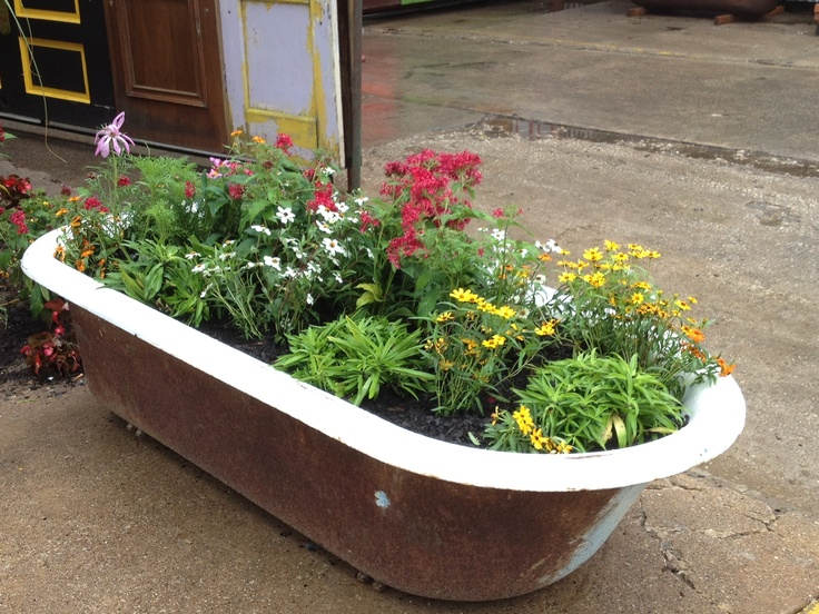 Unique Planter Idea Outside Garden Ideas Pinterest