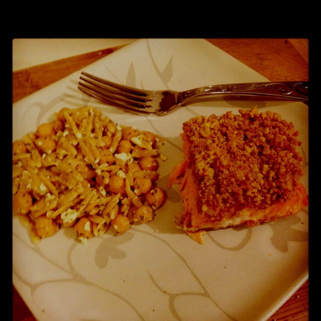 ... salmon and dilled orzo and chickpea salad. All clean, and it was tasty