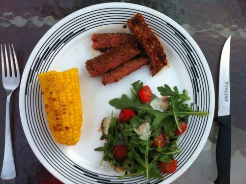 Citrus Marinated Flank Steak with Arugula Salad and Grilled Corn