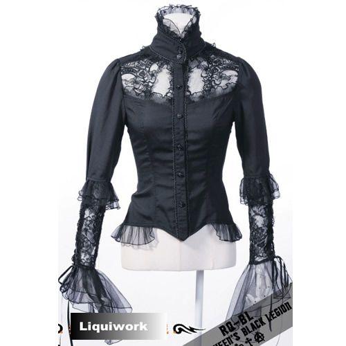Black Long Sleeve Gothic Victorian Fashion Dress Shirts Clothing
