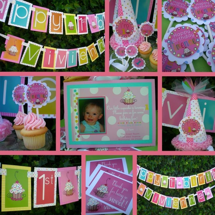 Girly cupcake birthday party decorations fully assembled for 1st birthday decoration packages