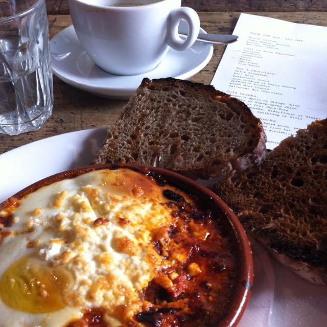 ... at St. Ali - Baked eggs with feta, chorizo, tomato and sourdough