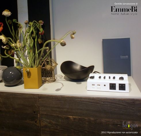 We love this table by EmmeBi. you can see a beautiful PowerBrick on it. When you come back at home, you put here your electronic gadgets to be recharged!