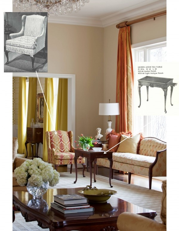 A Tobi Fairley living room design, infused with vintage @Hickory Chair pieces!