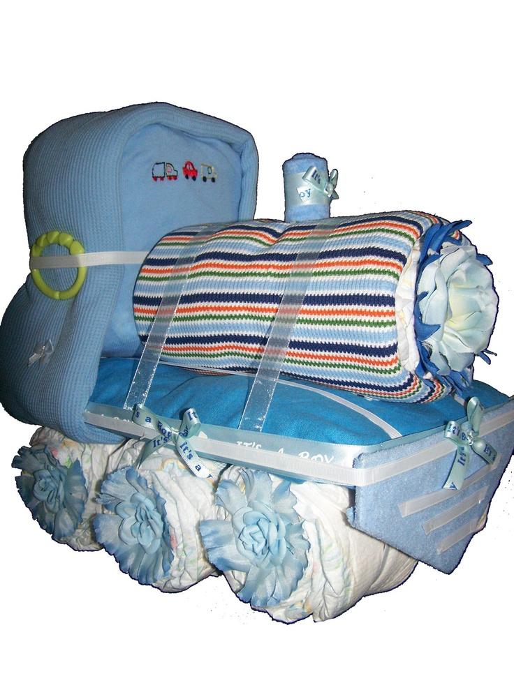 TRAIN DIAPER CAKE Baby shower centerpieces Baby shower ideas Baby ...