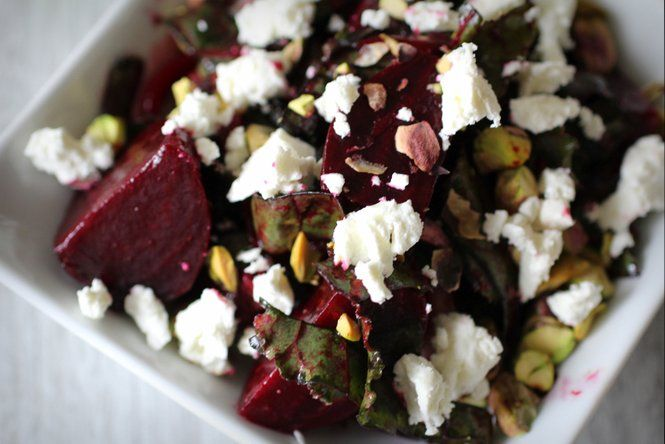 Roasted Beet and Greens Salad with Pistachios and Goat Cheese