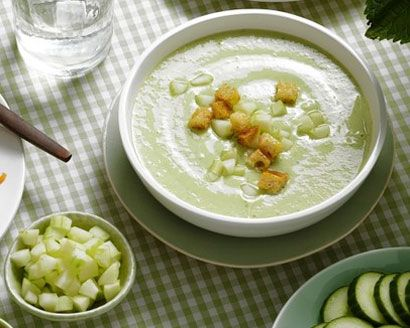 Cucumber and Buttermilk Soup with Sourdough Croutons | Recipe