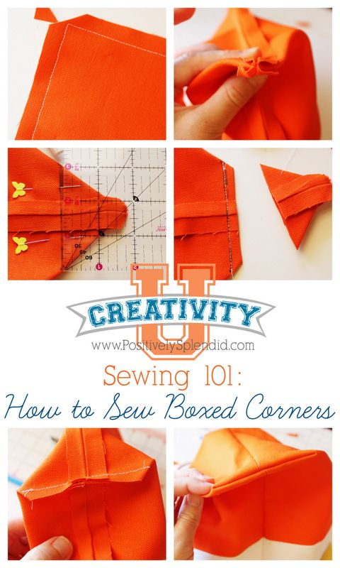 Learn how to sew boxed corners to add stability to the bottom of totes, handbags and more. Full photo tutorial. #sewing #creativityu