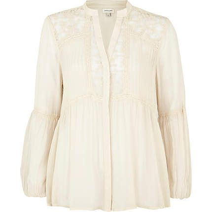Cream Lace Insert Blouse 90